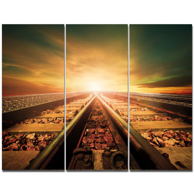 Designart Junction Of Railways Track Landscape Canvas Wall Art - 3 Panels