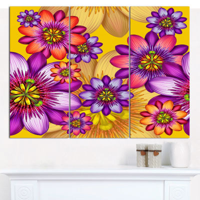 Designart Passion Flowers Pattern Canvas Wall Art-3 Panels