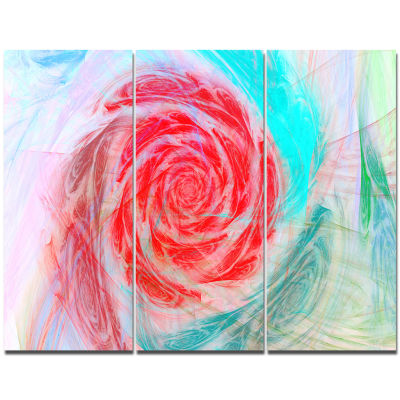 Designart Mysterious Abstract Rose Floral Canvas Wall Art - 3 Panels