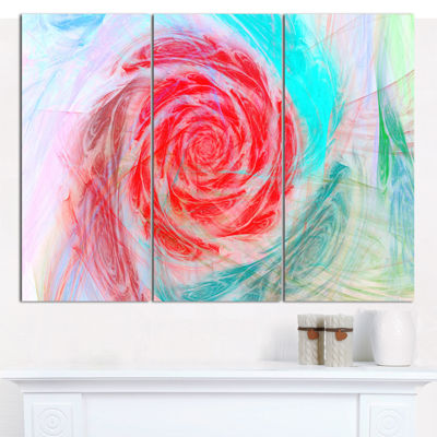 Designart Mysterious Abstract Rose Floral CanvasWall Art - 3 Panels