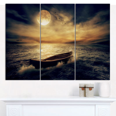 Designart Middle Of Ocean After Storm Floral Canvas Wall Art - 3 Panels