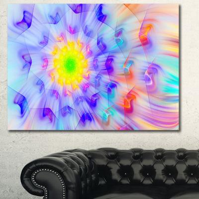Designart Yellow Alien Fractal Flower Canvas WallArt