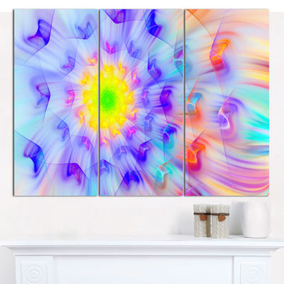 Designart Yellow Alien Fractal Flower Canvas WallArt - 3 Panels