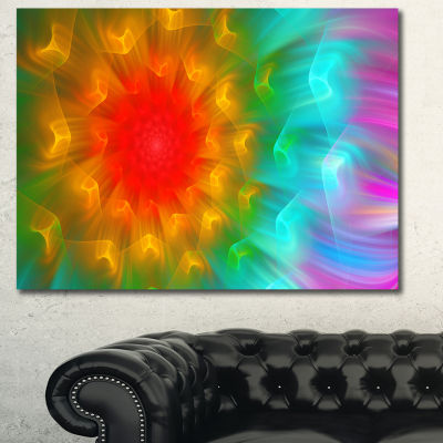 Designart Red Alien Fractal Flower Canvas Art Print