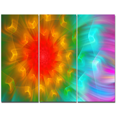 Designart Red Alien Fractal Flower Canvas Art Print - 3 Panels