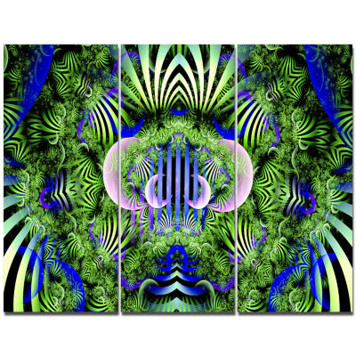 Designart Green Magical Fairy Pattern Floral Canvas Wall Art - 3 Panels