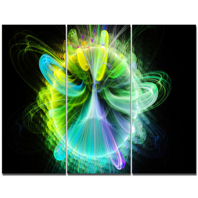 Designart Green Fractal Vortices Of Energy FloralCanvas Wall Art - 3 Panels
