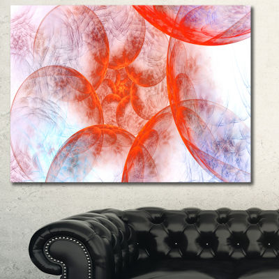 Designart Red Fractal Circles Floral Canvas Wall Art