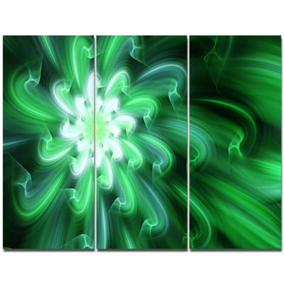 Designart Green Exotic Flower Petals Canvas WallArt - 3 Panels