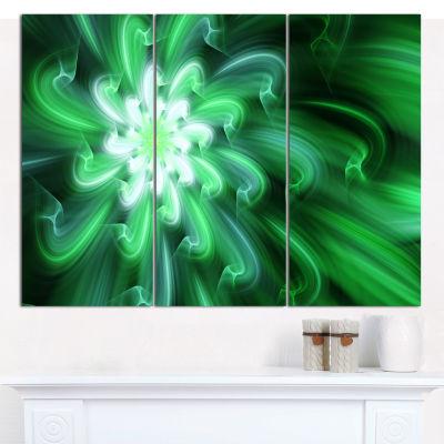 Designart Green Exotic Flower Petals Canvas WallArt - 3 Panels