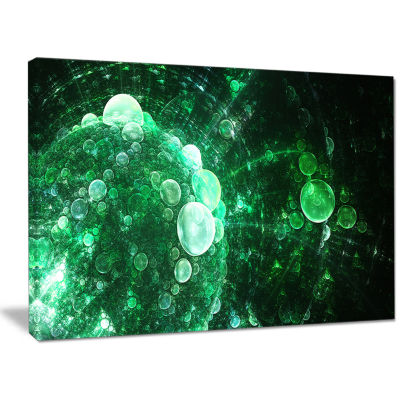 Designart Green Spherical Water Droplets Floral Canvas Wall Art