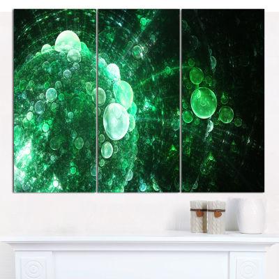 Design Art Green Spherical Water Droplets Floral Canvas Wall Art - 3 Panels