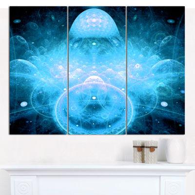 Designart Infinite Light Blue Universe Floral Canvas Wall Art - 3 Panels