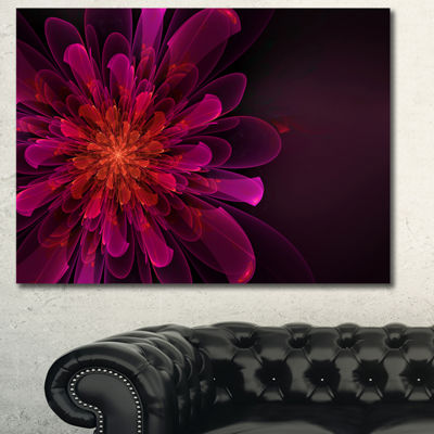 Designart Pink Alien Fractal Flower Canvas Wall Art