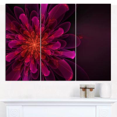 Designart Pink Alien Fractal Flower Canvas Wall Art - 3 Panels