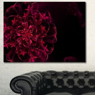 Designart Red Alien Fractal Flower Canvas Wall Art