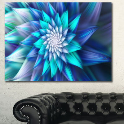 Designart Blue Alien Fractal Flower Canvas Wall Art