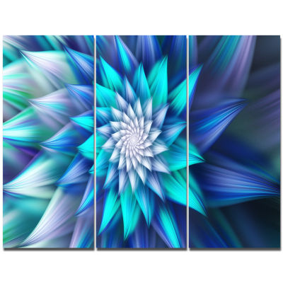Design Art Blue Alien Fractal Flower Canvas Wall Art - 3 Panels