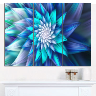 Designart Blue Alien Fractal Flower Canvas Wall Art - 3 Panels