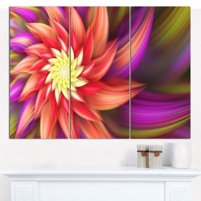 Designart Red Purple Alien Flower Canvas Wall Art-3 Panels