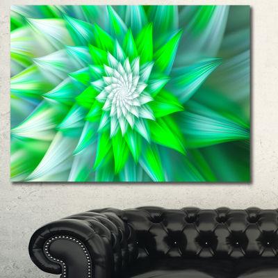 Designart Green Alien Fractal Flower Canvas Wall Art