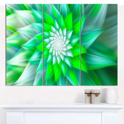 Designart Green Alien Fractal Flower Canvas WallArt - 3 Panels