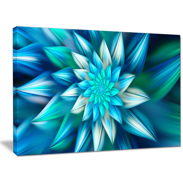 Designart Huge Blue Fractal Flower Canvas Wall Art
