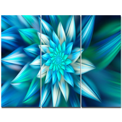 Design Art Huge Blue Fractal Flower Canvas Wall Art- 3 Panels