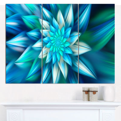 Designart Huge Blue Fractal Flower Canvas Wall Art- 3 Panels