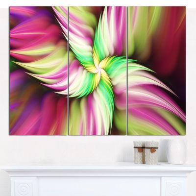 Designart Huge Rotating Pink Flower Canvas Wall Art - 3 Panels
