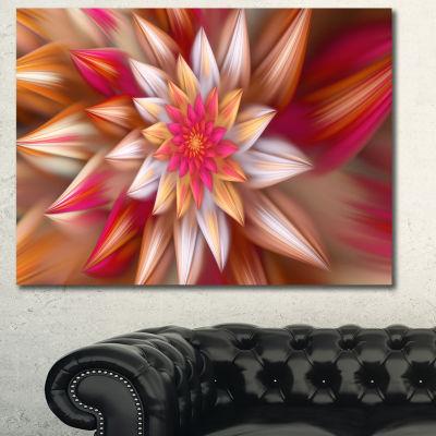 Designart Huge Red Fractal Flower Canvas Wall Art