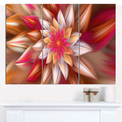 Design Art Huge Red Fractal Flower Canvas Wall Art- 3 Panels