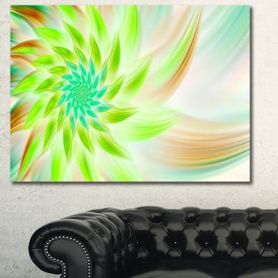 Designart Huge Bright Green Fractal Flower CanvasWall Art