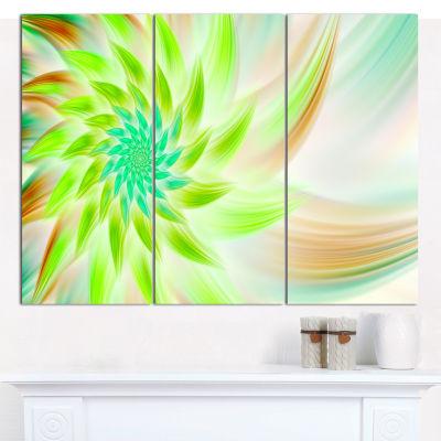 Designart Huge Bright Green Fractal Flower CanvasWall Art - 3 Panels
