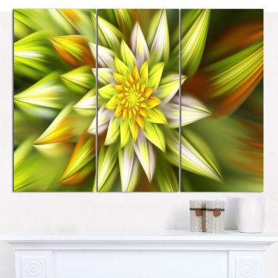 Designart Huge Yellow Fractal Flower Canvas WallArt - 3 Panels