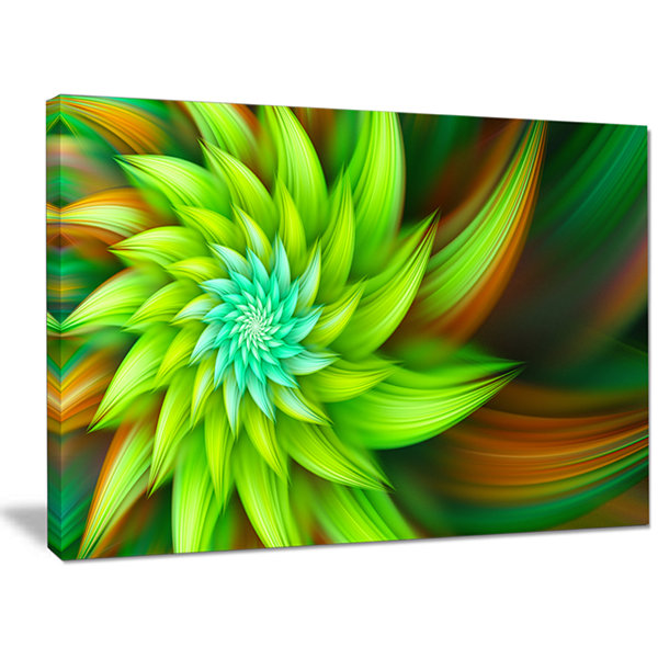 Designart Huge Clear Green Fractal Flower Canvas Wall Art