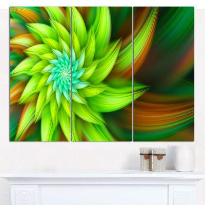 Designart Huge Clear Green Fractal Flower CanvasWall Art - 3 Panels
