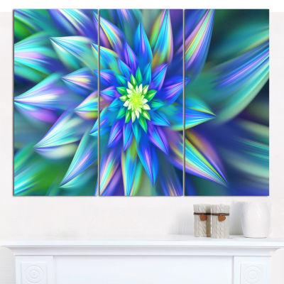 Designart Huge Light Blue Fractal Flower Canvas Wall Art - 3 Panels