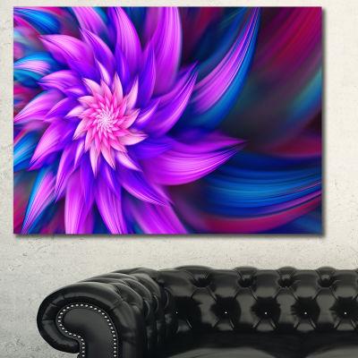 Designart Huge Purple Fractal Flower Canvas Wall Art