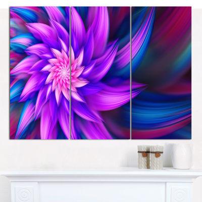 Designart Huge Purple Fractal Flower Canvas WallArt - 3 Panels