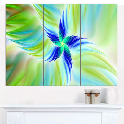Designart Huge Rotating Green Flower Canvas Wall Art - 3 Panels