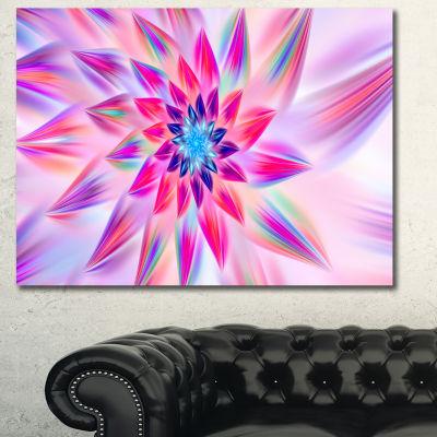 Designart Huge Pink Blue Fractal Flower Canvas Wall Art