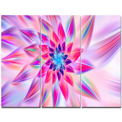 Designart Huge Pink Blue Fractal Flower Canvas Wall Art - 3 Panels