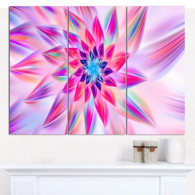 Designart Huge Pink Blue Fractal Flower Canvas Wall Art - 3 Panels