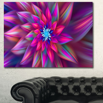 Designart Huge Purple Pink Fractal Flower Canvas Wall Art