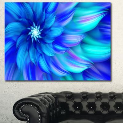 Designart Massive Blue Fractal Flower Canvas WallArt