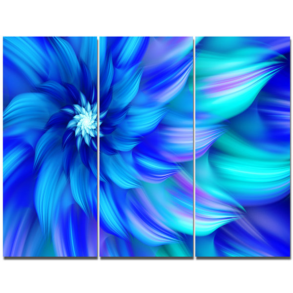 Design Art Massive Blue Fractal Flower Canvas WallArt - 3 Panels