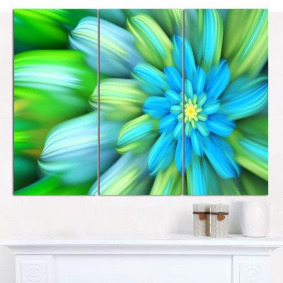 Designart Massive Green Fractal Flower Canvas WallArt - 3 Panels