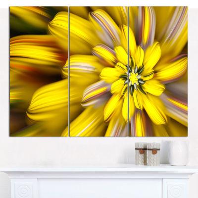 Design Art Massive Yellow Fractal Flower Canvas Wall Art - 3 Panels