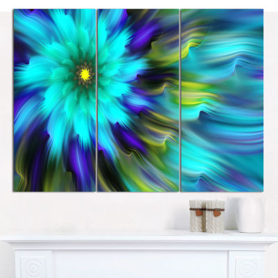 Design Art Massive Blue Green Fractal Flower CanvasWall Art - 3 Panels